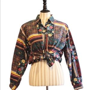 VINTAGE Capacity FLORAL Button-down Shirt GRUNGE